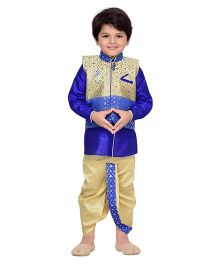 AJ Dezines Dhoti Kurta With Waistcoat Self Design - Golden And Royal Blue