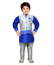 AJ Dezines Full Sleeves Kurta Breeches And Waistcoat With Embroidery Detail - Royal Blue & Grey