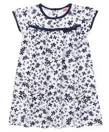 Babyhug Short Sleeves Frock Floral Print - White Blue