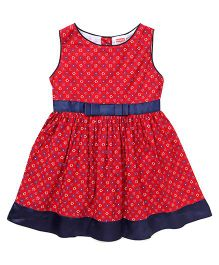 Babyhug Sleeveless Floral Printed Frock - Red
