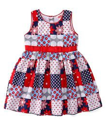 Babyhug Sleeveless Frock Floral Print - Red Blue
