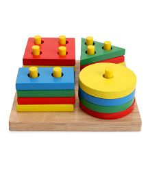Little Geniud Shape & Colour Stacking Board - Multi Color