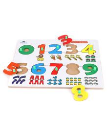 Little Genius Number Match Puzzle 0 to 9 With Knob - Multi Color