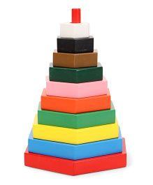 Little Genius Build A Tower Hexagon Multi Color - 10 Pieces