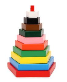 Little Genius Build A Tower Pentagon Multi Color - 10 Pieces