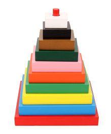 Little Genius Build A Tower Square Multi Color - 10 Pieces