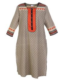 Kriti Full Sleeves Maternity Kurti - Beige