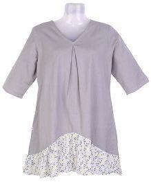 Kriti Half Sleeves Maternity Kurti - Grey White