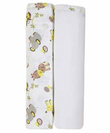 My Milestones Swaddle Wrapper Pack of 2 - Lemon Yellow White