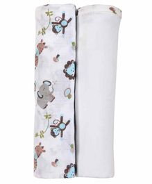 My Milestones Swaddle Wrapper Pack of 2 - Blue White