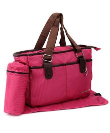 My Milestones Checks Diaper Bag With Changing Mat - Pink