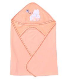 Child World Embroidered Hooded Cotton Wrapper - Peach