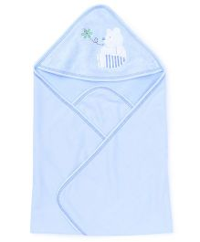 Child World Embroidered Hooded Wrapper - Sky Blue