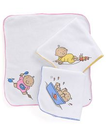 Child World Hand And Face Towels Set of 3 - White Pink Yellow Blue