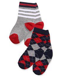 Cute Walk by Babyhug Anti Bacterial Socks Pack Of 2 - Grey & Navy