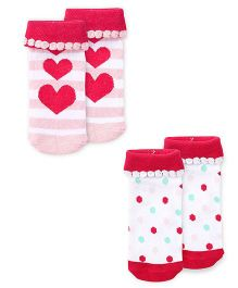 Cute Walk by Babyhug Anti Bacterial Socks Heart Design Pack of 2 - Pink