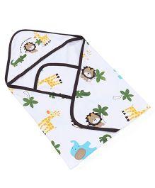 Doreme Hooded Wrapper Animal Print - White