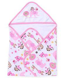 Doreme Hooded Wrapper Animals Print - Pink White