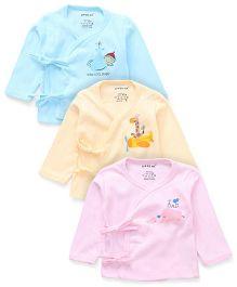 Doreme Lomg Sleeves Front Tie Up Vest Pack of 3 - Aqua Peach Pink