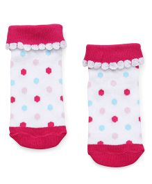 Babyhug Ankle Length Anti Bacterial Socks - Fuchsia & White
