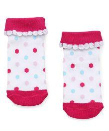 Babyhug Ankle Length Anti Bacterial Socks - Fuchsia & White