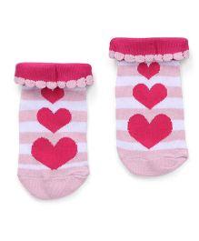 Cute Walk by Babyhug Anti Bacterial Socks Heart Design - White And Fuchsia Pink