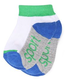 Babyhug Ankle Length Socks - White Grey Royal Blue