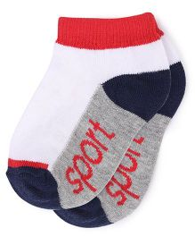 Babyhug Ankle Length Socks - White Grey Navy Blue