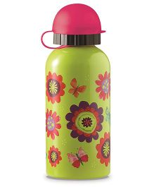 Crocodile Creek Stainless Steel Sipper Bottle Floral Print Green - 400 ml