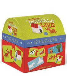 Crocodile Creek Puzzle Animal Set 12 - Multi Color
