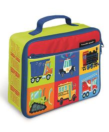 Crocodile Creek Insulated Classic Lunch Box Vehicle Print - Green Red