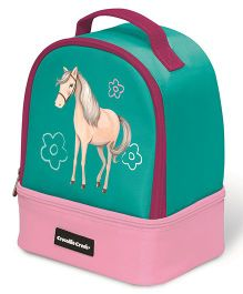 Crocodile Creek Insulated Double Decker Lunch Box Horse Design - Green Pink