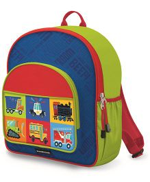 Crocodile Creek Backpack Vehicles Print Blue Green - 14 inches