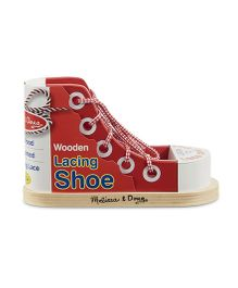 Melissa & Doug Wooden Lacing Shoe - Red