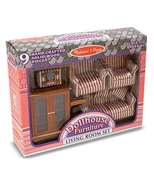 Melissa & Doug Wooden Doll House Furniture Living Room Set - 9 Pieces