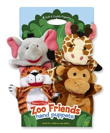 Melissa & Doug Zoo Friends Hand Puppets Pack of 4 Multicolour - 36 cm