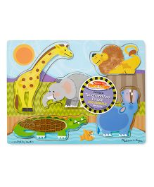 Melissa & Doug Zoo Animals Touch And Feel 3D Wooden Puzzle - Multicolor