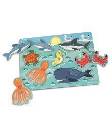 Melissa & Doug Sea Creatures Peg Puzzle - Blue