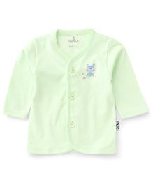 Child World Full Sleeves Puppy Print Vest - Mint Green