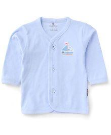 Child World Full Sleeves Boat Print Vest - Light Blue