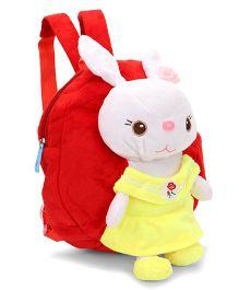 Plush School Bag Rabbit Applique Red - 9 Inches