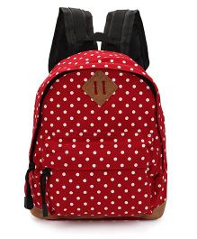 Dotted School Bag Maroon and White - 9 Inches