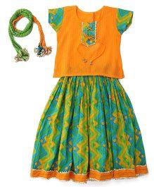 Exclusive from Jaipur Short Sleeves Choli And Lehenga With Dupatta - Orange Green