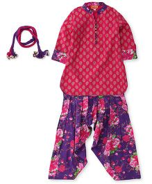 Exclusive from Jaipur Full Sleeves Kurti And Patiala With Dupatta - Pink Purple