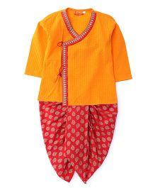 Exclusive From Jaipur Full Sleeves Kurta Dhoti Set - Orange Red