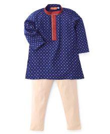 Exclusive From Jaipur Kurta Pyjama Set - Blue Off White