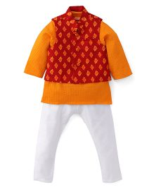 Exclusive From Jaipur Kurta Jacket And Pyjama Set - Orange White