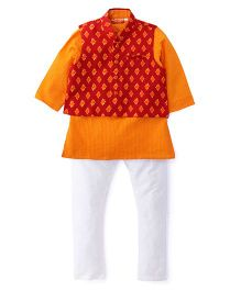 Exclusive From Jaipur Kurta Jacket And Pyjama Set - Orange White