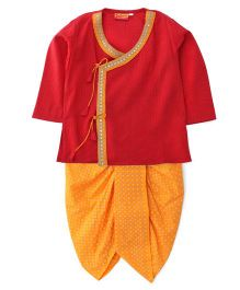 Exclusive from Jaipur Full Sleeves Kurta And Dhoti - Red Orange