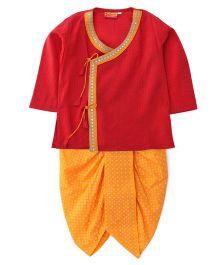 Exclusive from Jaipur Full Sleeves Kurta And Dhoti - Red Orange